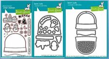 Lawn Fawn Photopolymer Clear Stamp/Die Set~ READY, SET SNOW -W/SHAKER ~ Lot of 3