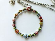 BRIGHTON CIRCLE FLOWER CHILD Colorful Silver Pendant Necklace 18'' - 20''