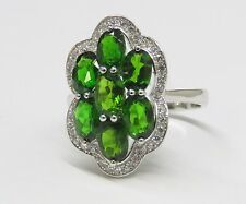 #6375S Chrome Diopside regular Cut Floral style Ring - 925 Sterling Silver
