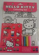 Hello kitty coloriage set 8 coloration feuilles, 6 couleurs crayons & réutilisable stickers
