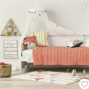 """Pillowfort Tassel Trim Bed Canopy White 180"""" x 100"""" - Ceiling Mount By Target"""