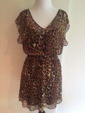 NWT!!! Express Cheetah Pattern Flow Style Mini Dress Short Sleeves Size X Small!