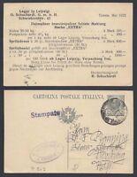 STORIA POSTALE REGNO 1922 Intero 15c da Trieste a Warburg Stampa Privata (E8)