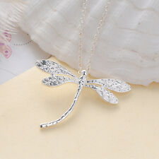 Simple Style Silver Plated Dragonfly Pendant Long Chain Jewelry Necklace Fashion