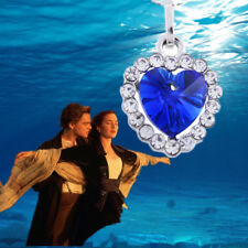 Titanic Heart of The Ocean Sapphire Blue Crystal Movie Necklace Pendant Gift UK