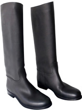 PRADA Black Saffiano Leather Tall / Knee-High Boots - Size 41 - New