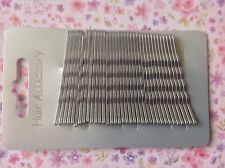 NEW 36 SILVER GREY 4cm METAL KIRBY HAIR CLIPS GRIPS BOBBY PIN UP BUN SCHOOL GYM