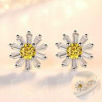 Ear Stud Earrings Yellow Daisy Silver Women Fashion Jewellery Sun Flower