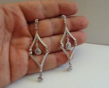 925 STERLING SILVER CLOVER & TEARDROP CHANDELIER DANGLING EARRINGS W/ ACCENTS