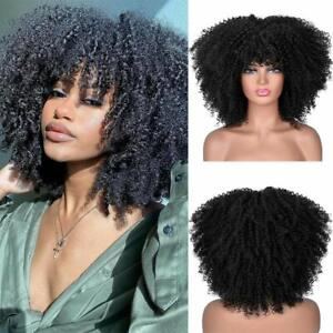 Short Curly Afro Wig With Bangs for Black Women Kinky Curly Natural full Wigs