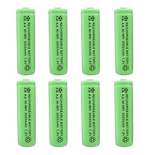 8 pcs AA 3000mAh Ni-MH 1.2V Rechargeable Battery Green For Toy RC Solar Light