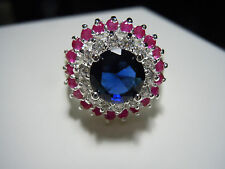 High Top Blue Sapphire Ruby Topaz Gemstones 925 Silver Ring Size 7 - 32 Carats