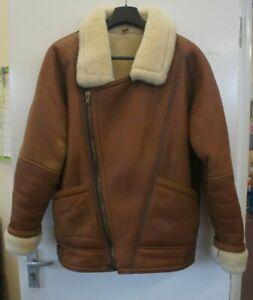 Vintage Leather Sheepskin Flight Jacket Mens Size 42