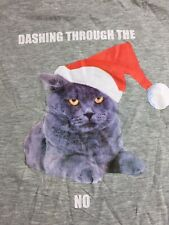 New Ladies Classic Christmas Cat T-Shirt Dashing Through The Snow No SML Creased