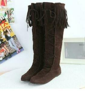 Womens Tassel Knee High Boots lace Up Pull On Flat Heel Roman Faux Suede Shoes