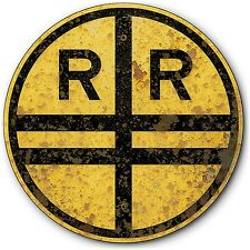 1927 Repro Railroad Crossing Tin Metal Train Sign Old Rusted Vintage Effects 14""