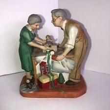 Norman Rockwell figurines Christmas Family Grandparents wrapping presents Doll