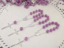 50 Pc Mini Rosary LILAC COLOR Baptism Favors/recuerdos De Bautizo/ Priority