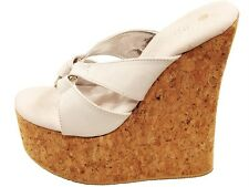 TONY SHOES W507 TALL CORK WEDGES WHITE LEATHER NEW SIZE 10 EURO 39.5 - 40