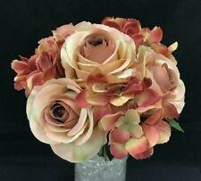 "Silk Rose Hydrangea Flower Bouquet~USE as Bouquet/Single Stems~Blush/Mauve~14"""