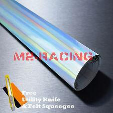 "*60""x360"" Holographic Silver Rainbow Chrome Car Vinyl Wrap Bubble Free Sticker"