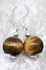 Ohrringe Tigerauge & 925 Silber I Ohrhaken, Ohrhänger,925er Sterling Silber,edel