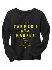 "Gap Boy's Black Tee Shirt, Boy's ""Buy Local Organic"" Long Sleeve Top 4-5 yrs NWT"