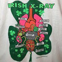 Vtg 90s Hanes 50/50 T-Shirt Irish X-Ray Thin Graphic St Patricks Tee L 42-44 USA