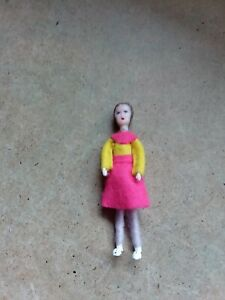 Vintage dolls house 1/16th scale Dol toi  lady Pink and Yellow dress