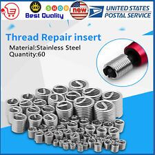 New 60pcs/set Stainless Steel Thread Repair Insert Kit M3 M4 M5 M6 M8 M10 M12