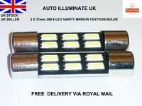 31mm 6 LED SUN VISOR CAR VANITY LIGHT LAMP FESTOON BULBS WHITE 269 T6.3 12V