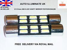 31mm 6 LED Lámpara luz de vanidad de Coche Visera De Sol Bombillas Festoon Blanco 269 T6.3 12V