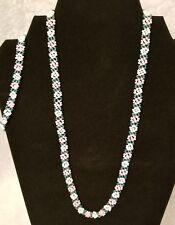 Girls Junior Womens Pink Blue White Fashion Floral Necklace Bracelet Beaded Set