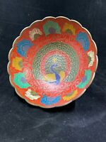 Vintage Brass Cloisonne Peacock Floral Relief Bowl Painted Enamel Scalloped Edge