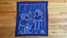 "Batik Signed Yemi Fabric Panel 23"" x 25"" Blues Ethnic Wall Garment Pillow"