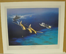 Too Close for Comfort  by Jack Fellows - P-38 Lightning & Corsair signed