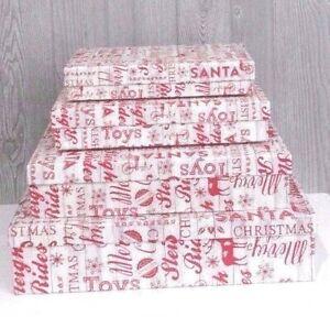 Christmas Stack Nesting Boxes Rectangular Farmhouse Set of 4  New