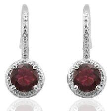 Ohrringe/Ohrhaken Sandra, 925er Silber, 2,162 Kt. echter Granat/Diamant