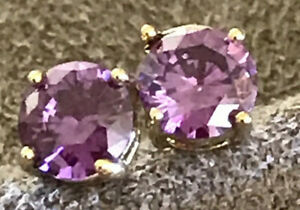 Amethyst CZ Earrings 6mm  14k Gold Plated Sterling Silver Stamped  Best Quality