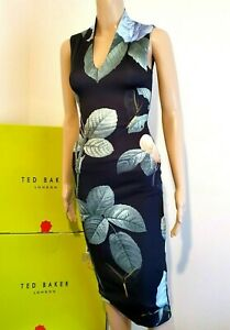"TED BAKER ""RAVINA"" FLORAL ROSE FITTED MIDI DRESS BNWT UK 6 TED 0 US 2 RRP £159"