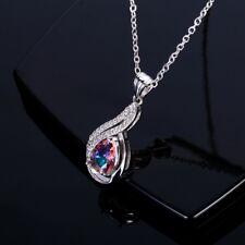 Elegant 925 Silver Pear Gemstone Mystic Topaz AAA Pendant Necklacks