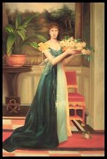 "* 36""x24"" Oil Painting on Canvas, Young Lady with Flowers, Hand Painted"