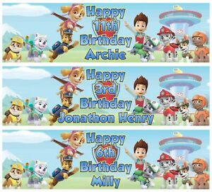 2 x Personalised PAW PATROL Birthday Banner ANY NAME, ANY AGE