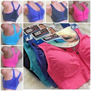 WOMEN'S SPORT BRAS 1-4 BRA Active Wear YOGA WIRE FREE zipper RACERBACK 3033 M-XL