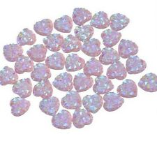 20 PIECES SPARKLING DRUZY RESIN CABOCHON PINK HEART EMBELLISHMENT, JEWELERY