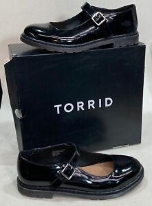 Women's Torrid Mary Janes Oxfords Black Patent Look Size 12 WIDE NIB Lug Sole