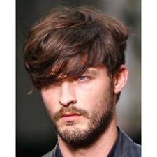 100% Real Hair!Men Stylish Natural Straight Short Brown Human Hair Wig Toupee