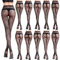Women's Black Lace Fishnet Hollow Out Floral Pantyhose Tights Stocking Lingerie