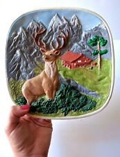 Vintage 1970's Buck Hunting Deer Scene Wall Plaque English Village Country Art