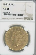 1856-S GOLD DOUBLE EAGLE,   GRADED AU58 BY NGC  $20 COIN,